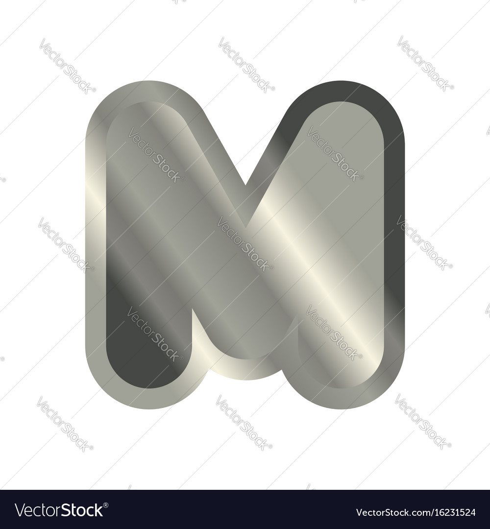 Letter m steel font metal alphabet sign iron abc vector image