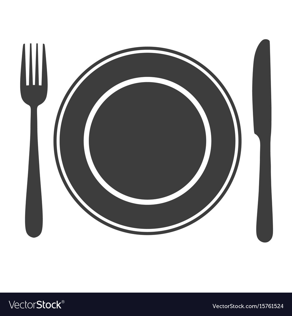 Plate with fork and knife icon laying the table vector image