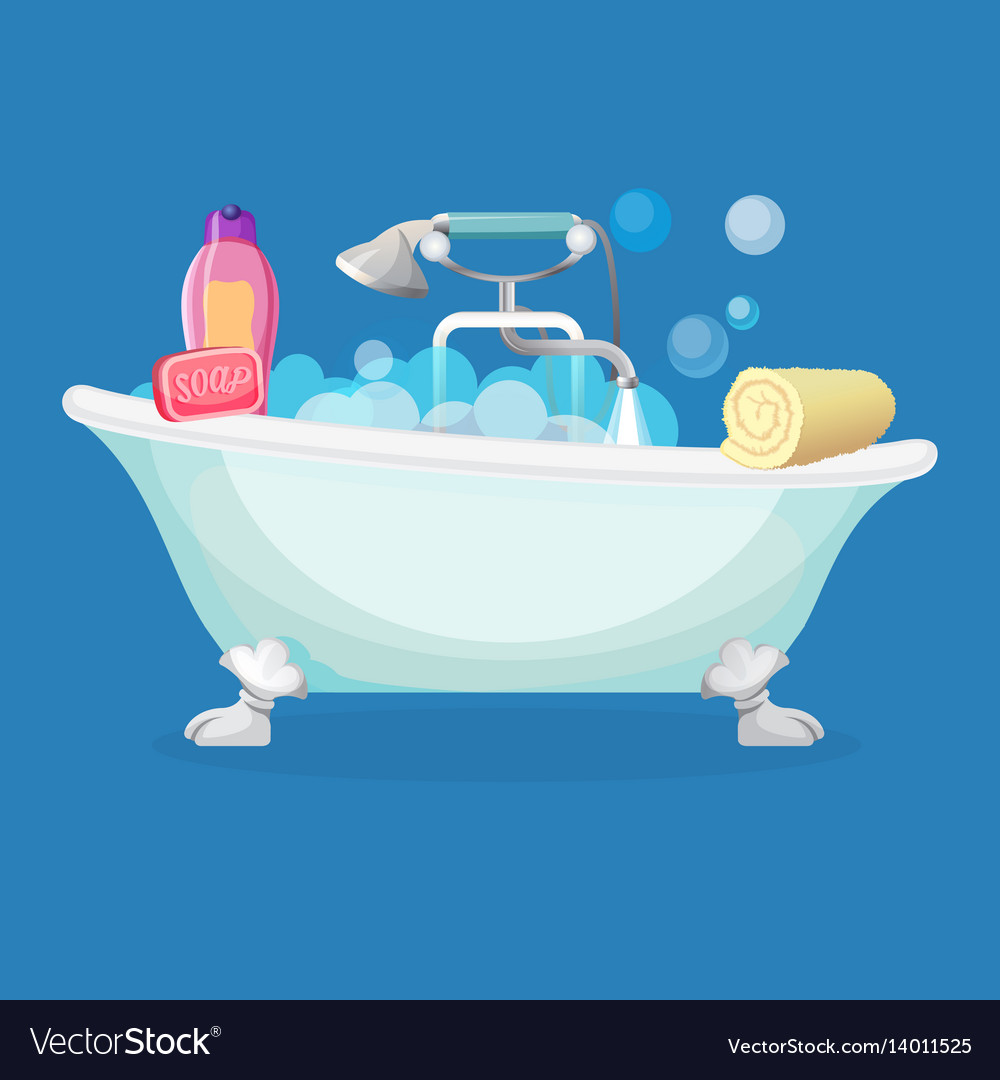 Bath tub isolated full of foam with bubbles Vector Image