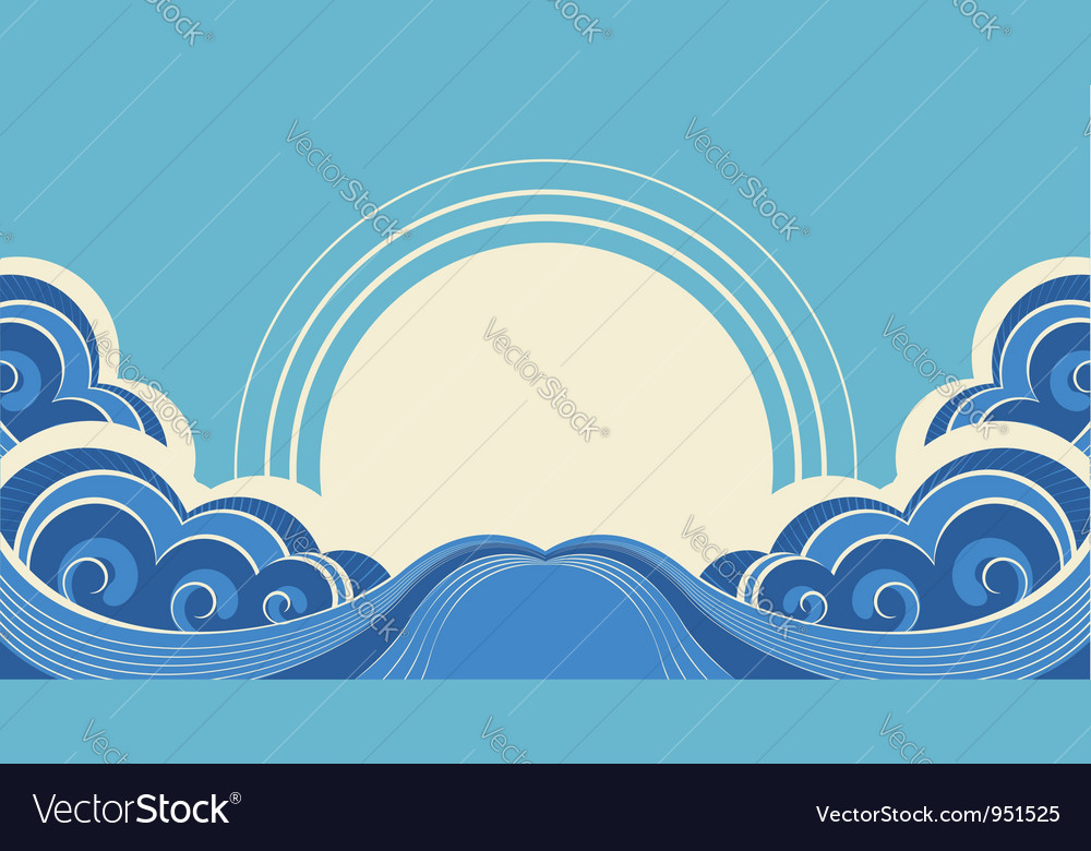 Sea waves and sunAbstract nature image vector image