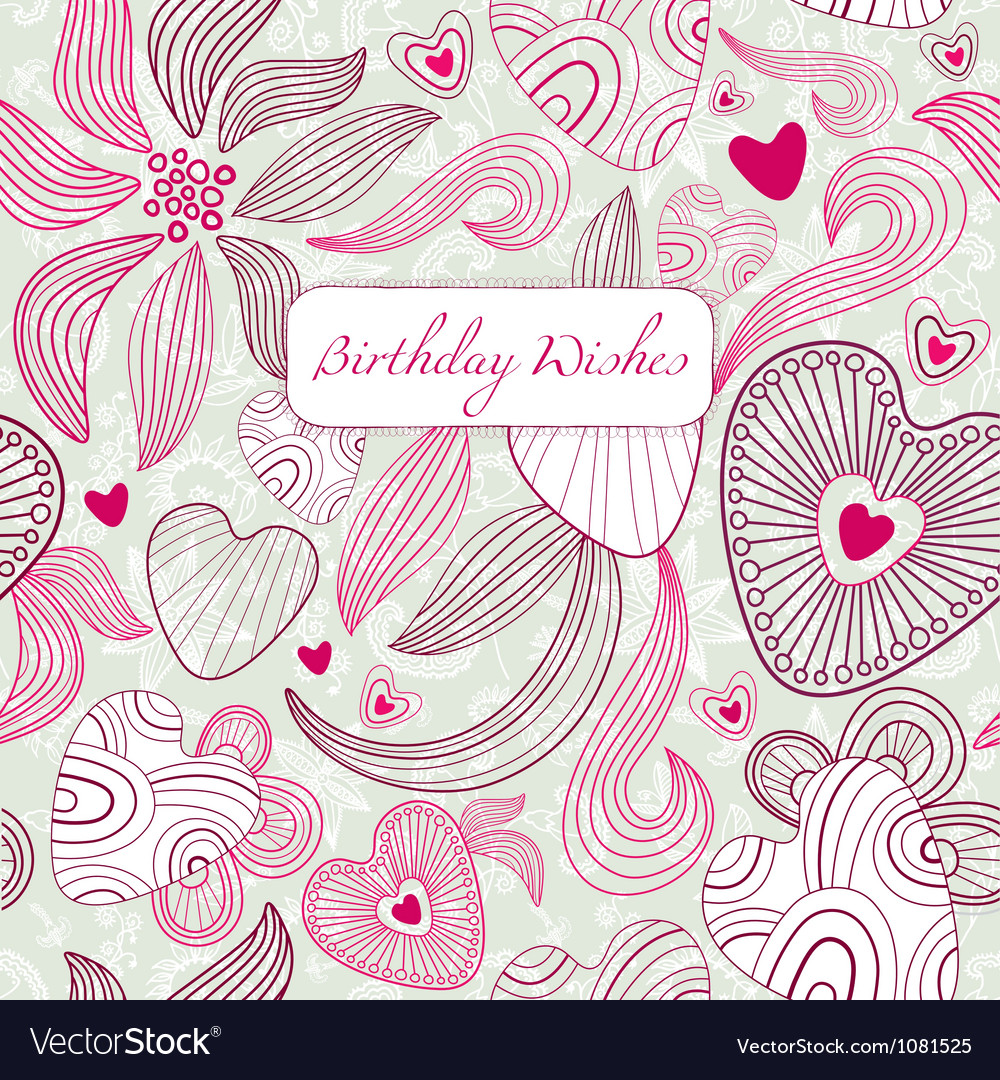 Vintage floral birthday card royalty free vector image vintage floral birthday card vector image bookmarktalkfo Image collections
