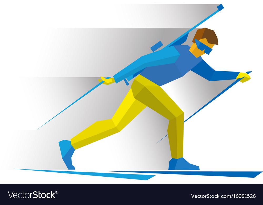 Biathlon biathlete going skiing with rifle vector image