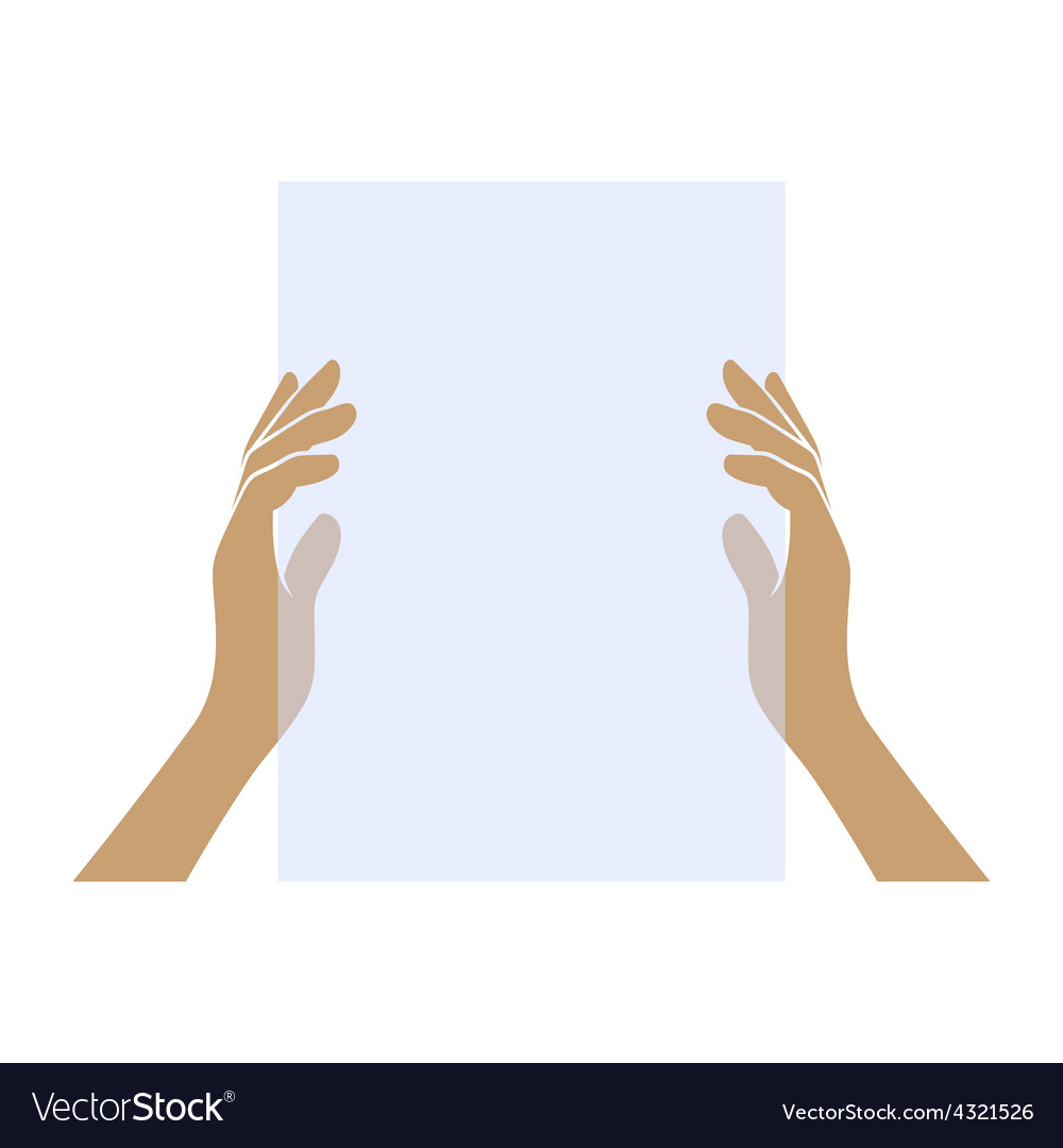 Hands Holding Blank Paper on White Background vector image