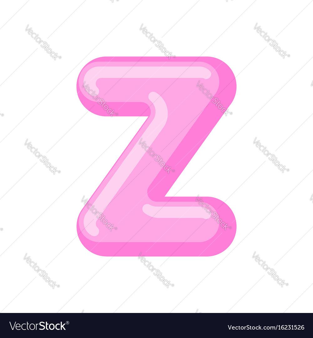 Letter z candy font caramel alphabet lollipop vector image
