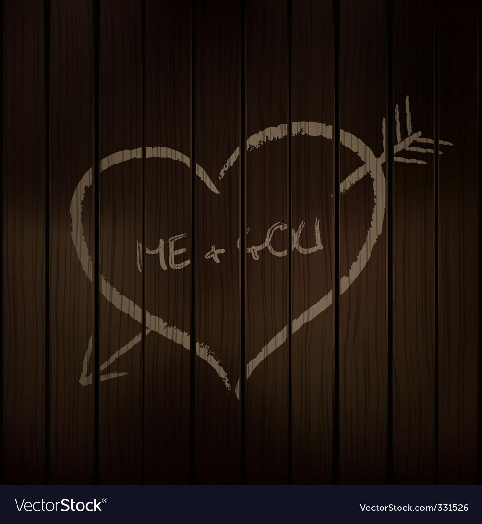 Wood chalk heart vector image