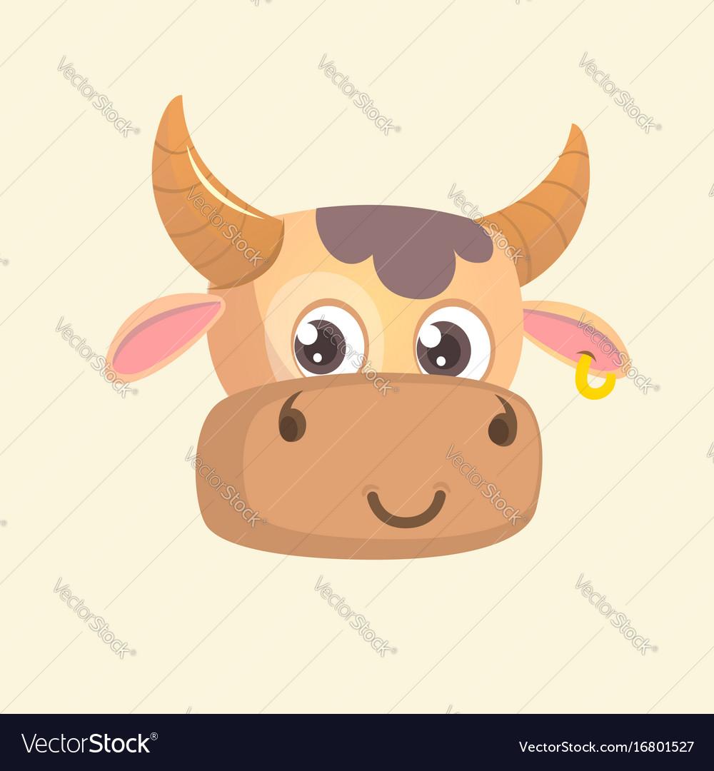 Cartoon bright brown smiling cow vector image