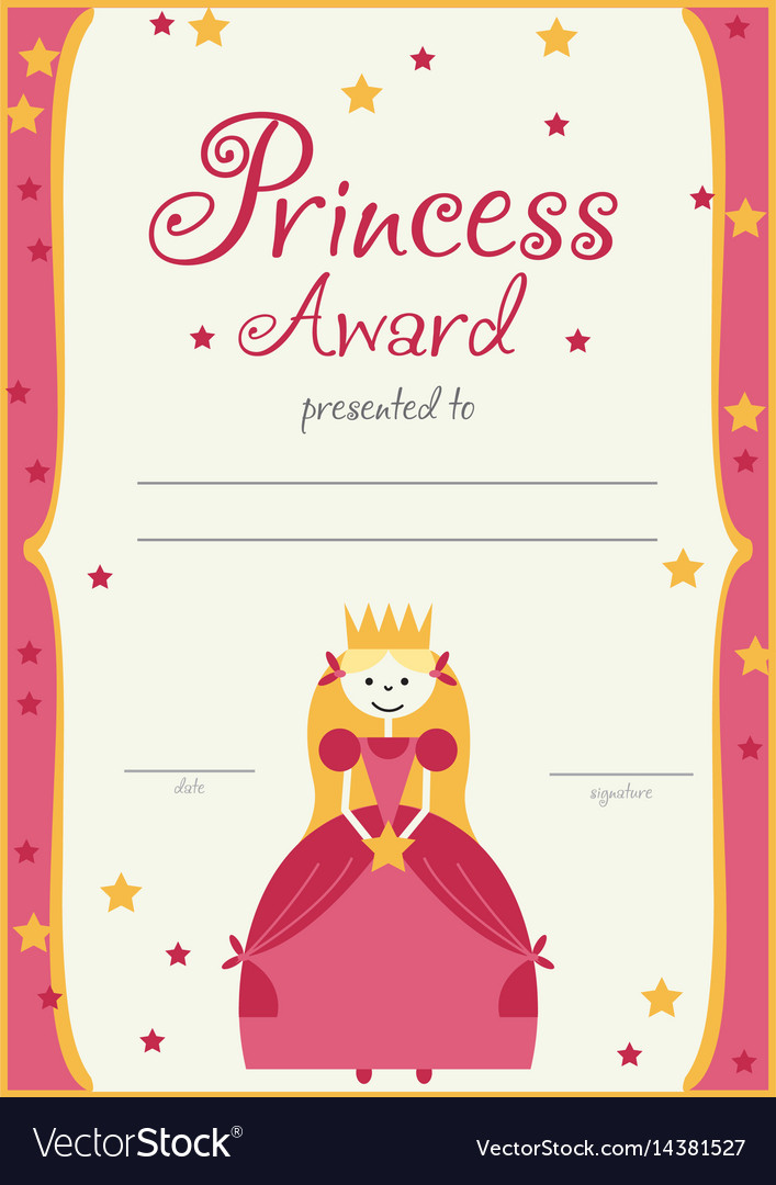 Certificate template princess girls birthday vector image