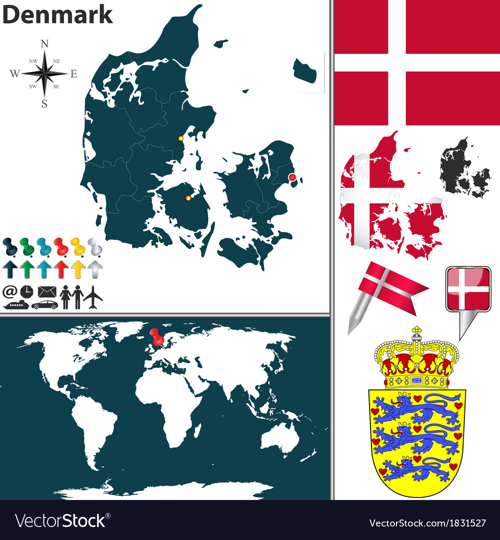 Denmark map world royalty free vector image vectorstock denmark map world vector image publicscrutiny Images