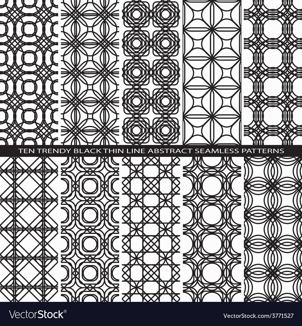 Set of Trendy Vintage Black Thin Line Seamless vector image