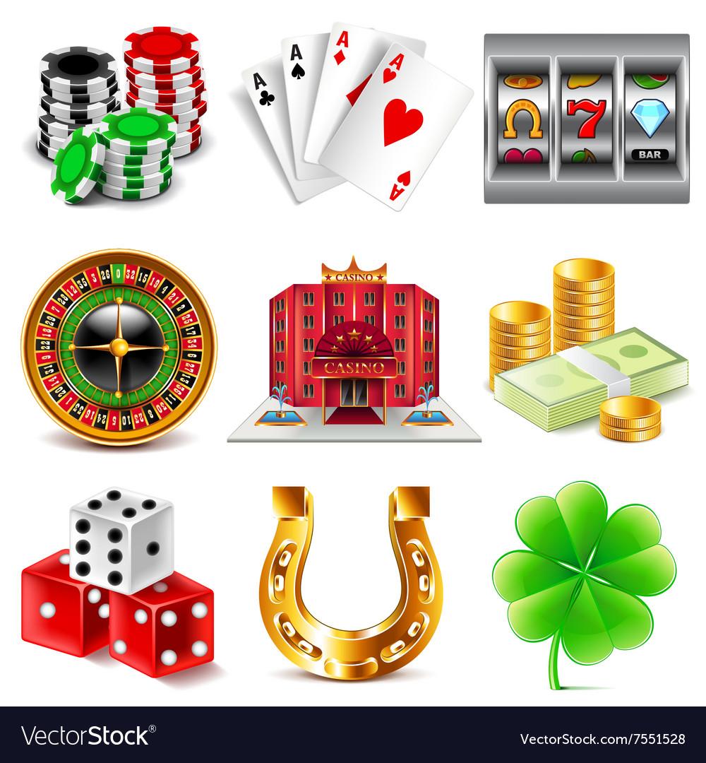Casino and gambling icons set vector image