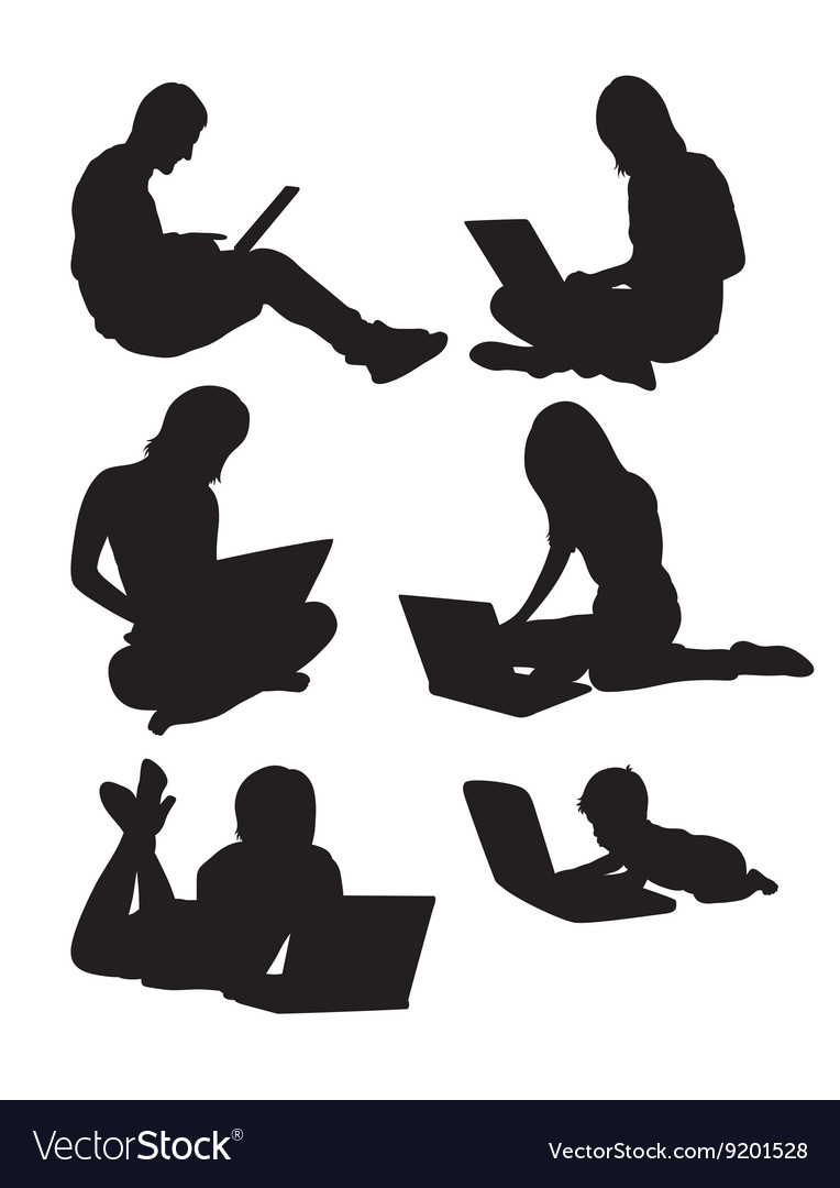 People With Laptop vector image
