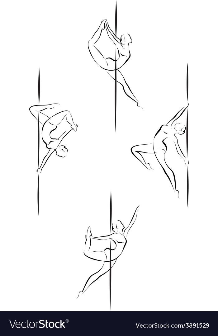 Outline pole dancers vector image