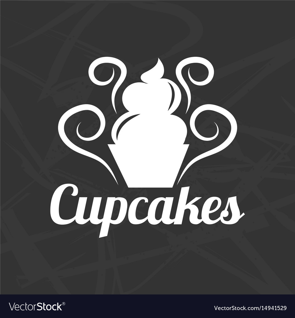 Silhouette of cupcake symbol vector image