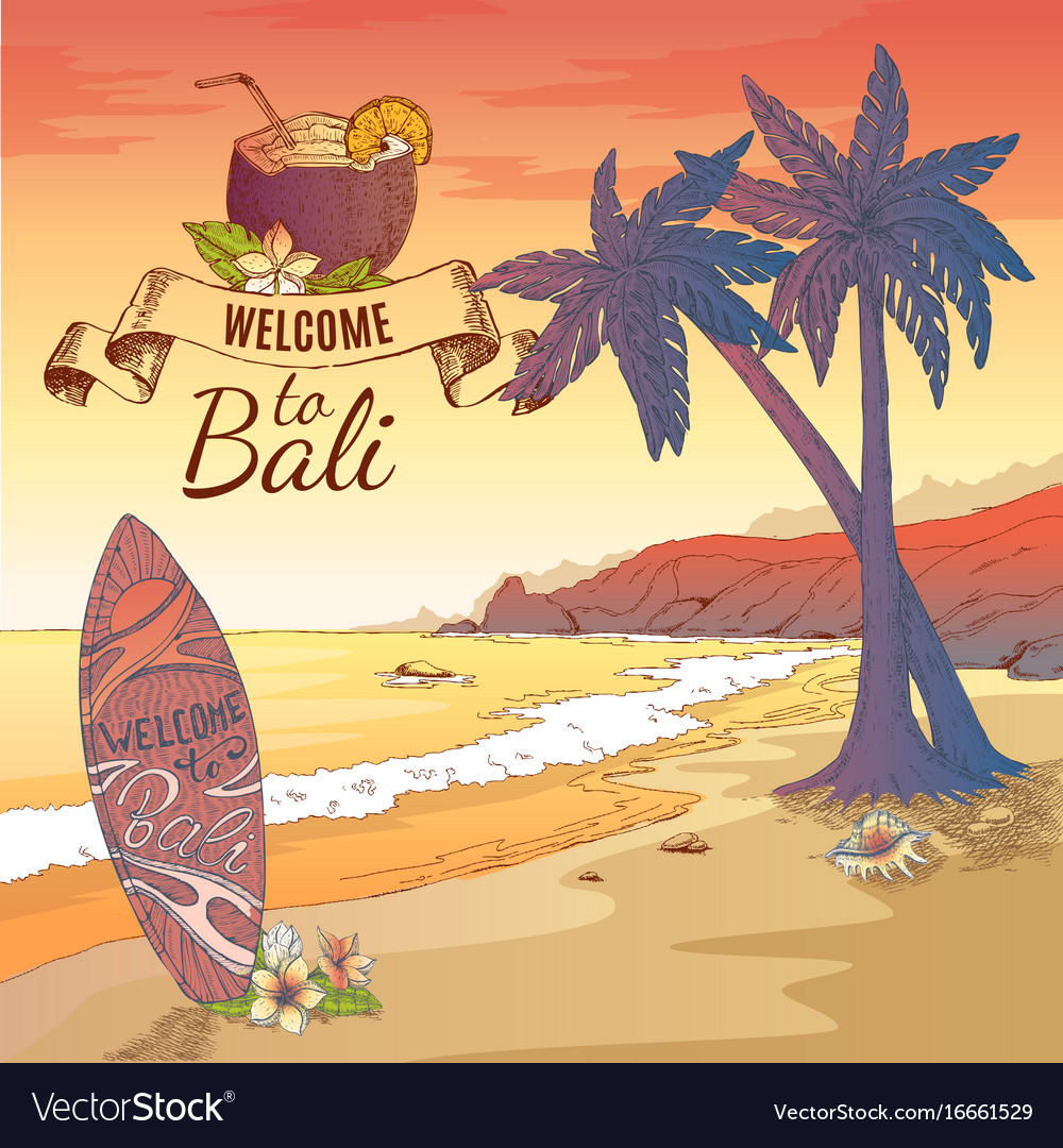 Welcome to bali background royalty free vector image welcome to bali background vector image altavistaventures Gallery