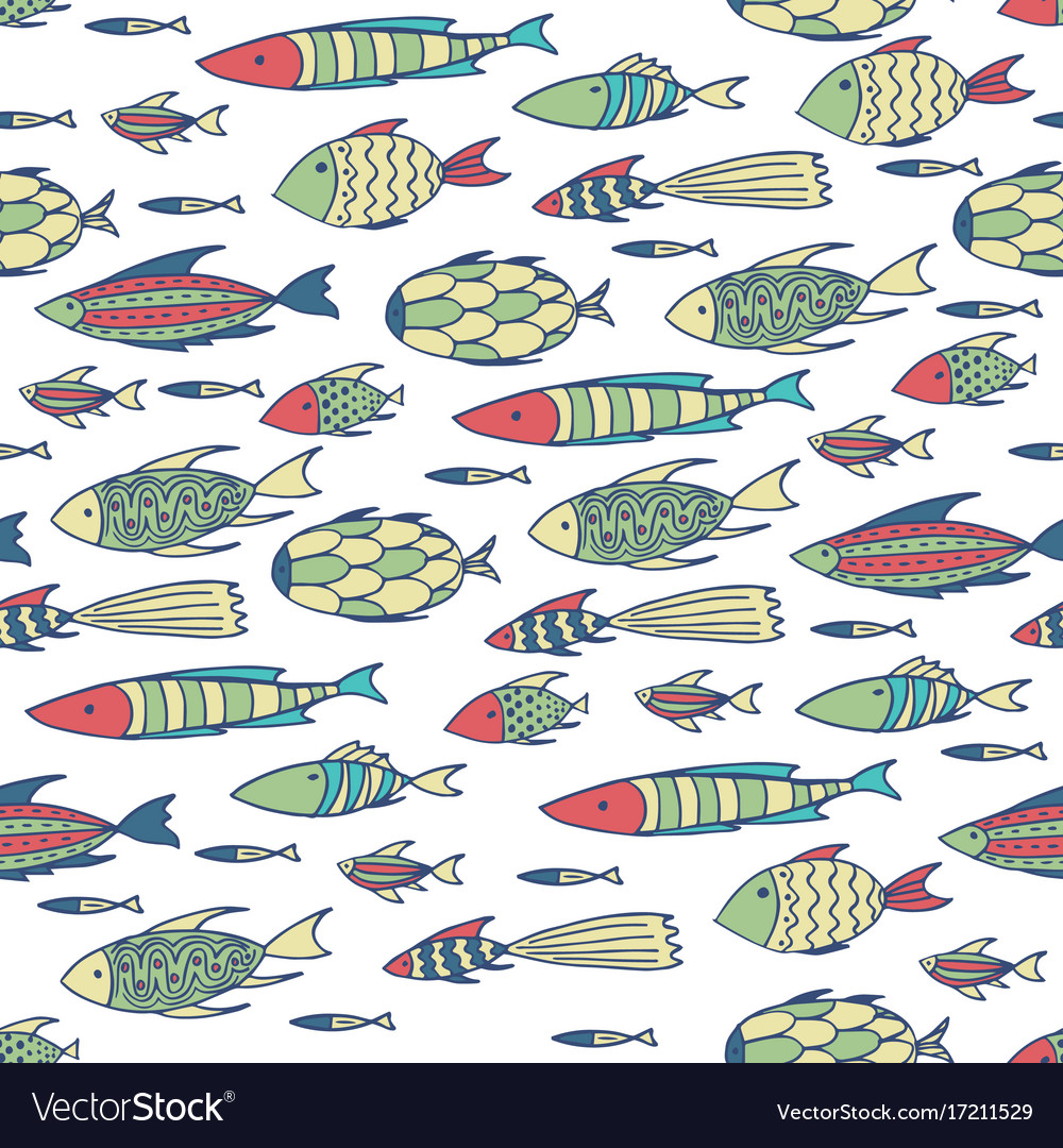 White pattern with shoal of fishes vector image