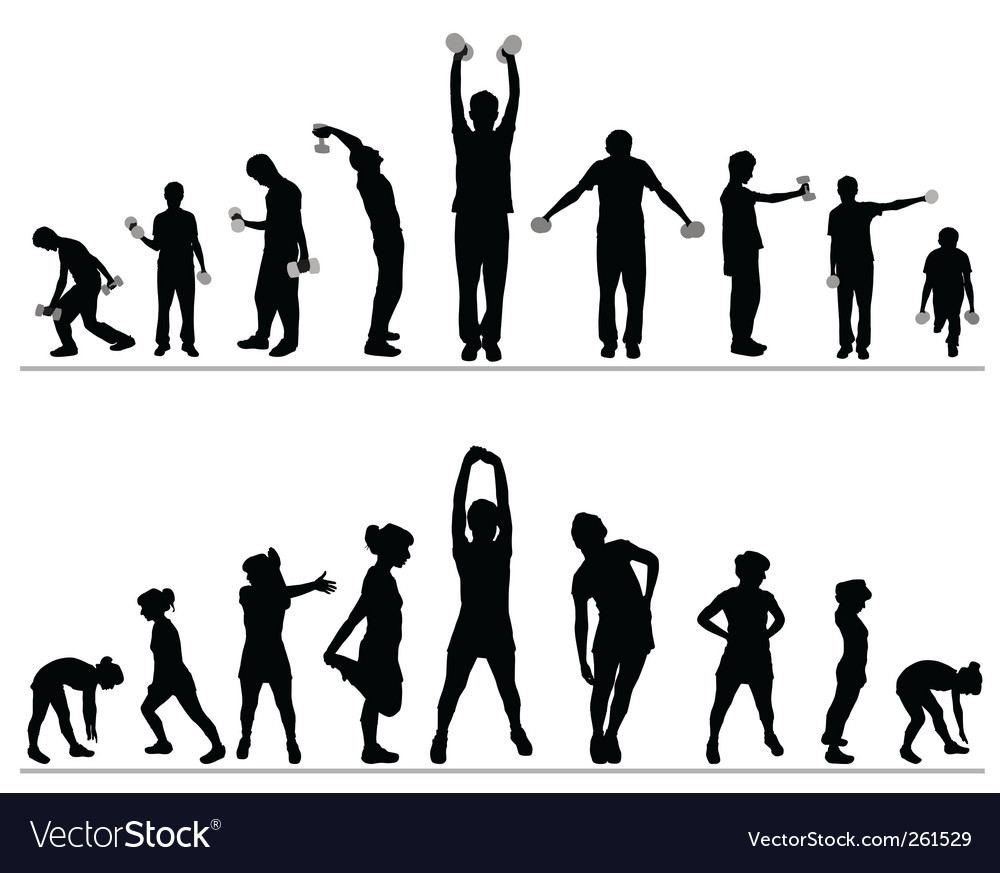 Woman and man fitness vector image