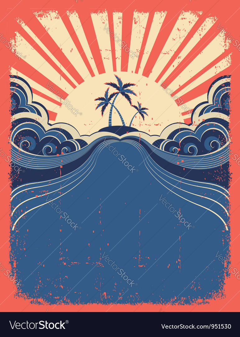 Tropical background with palms and sun on grunge vector image