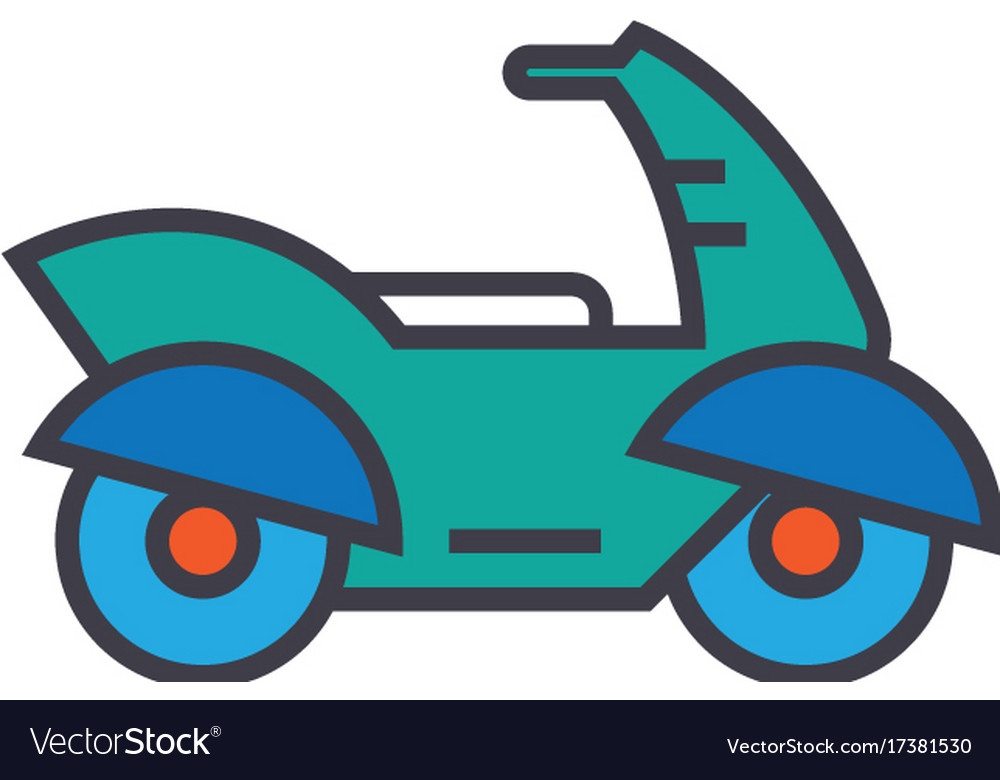 Motorcycle motorbike flat line vector image