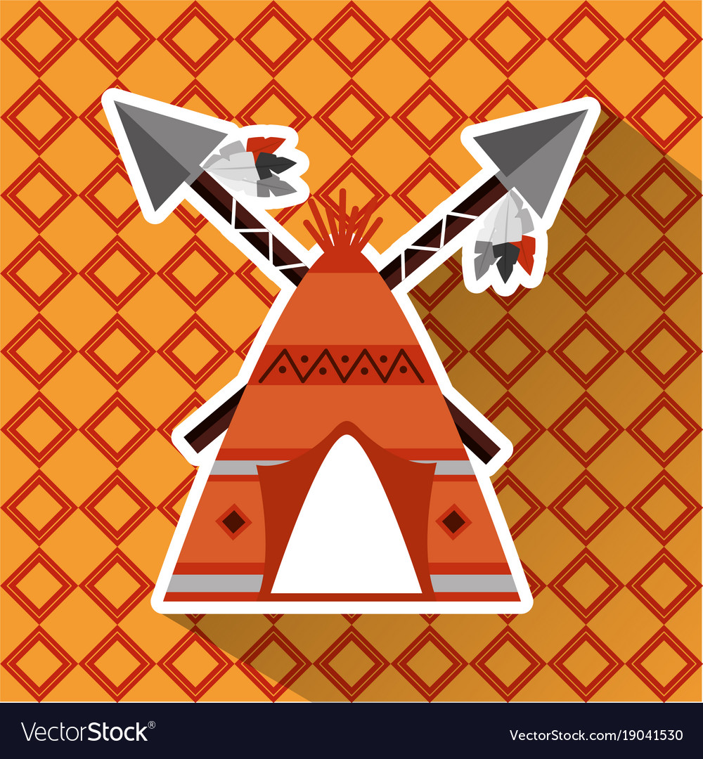 Native american teepee and cross spears weapon vector image