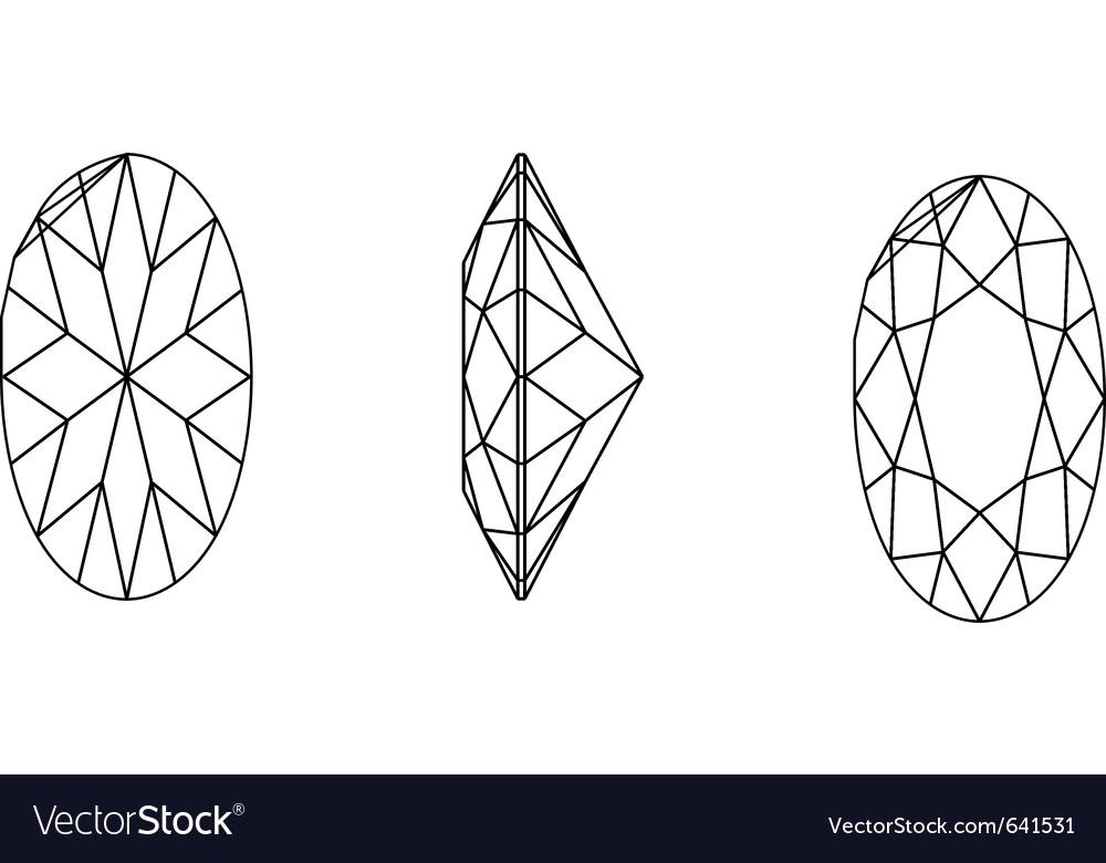 Gemstone wire frame vector image