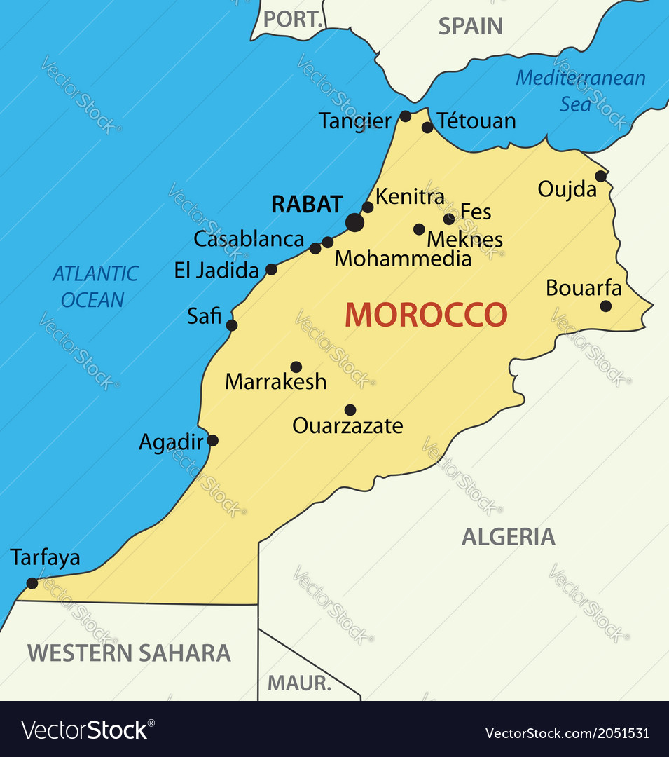 Kingdom of Morocco map Royalty Free Vector Image