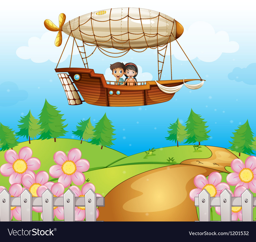 An airship passing the hills with kids vector image