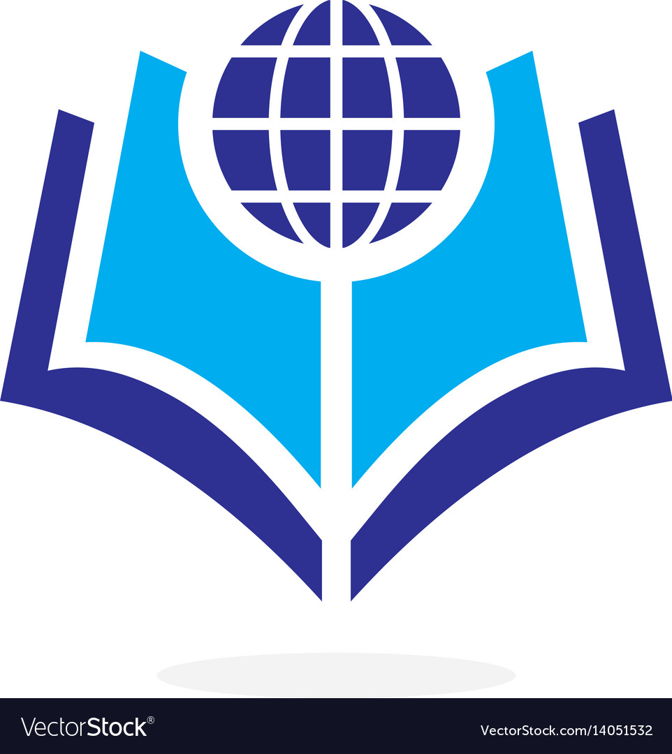 Globe world book logo concept vector image