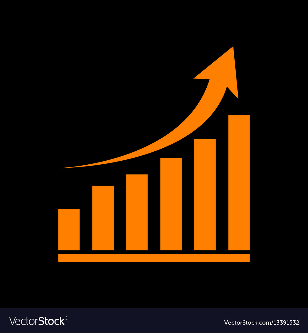 Growing graph sign orange icon on black vector image