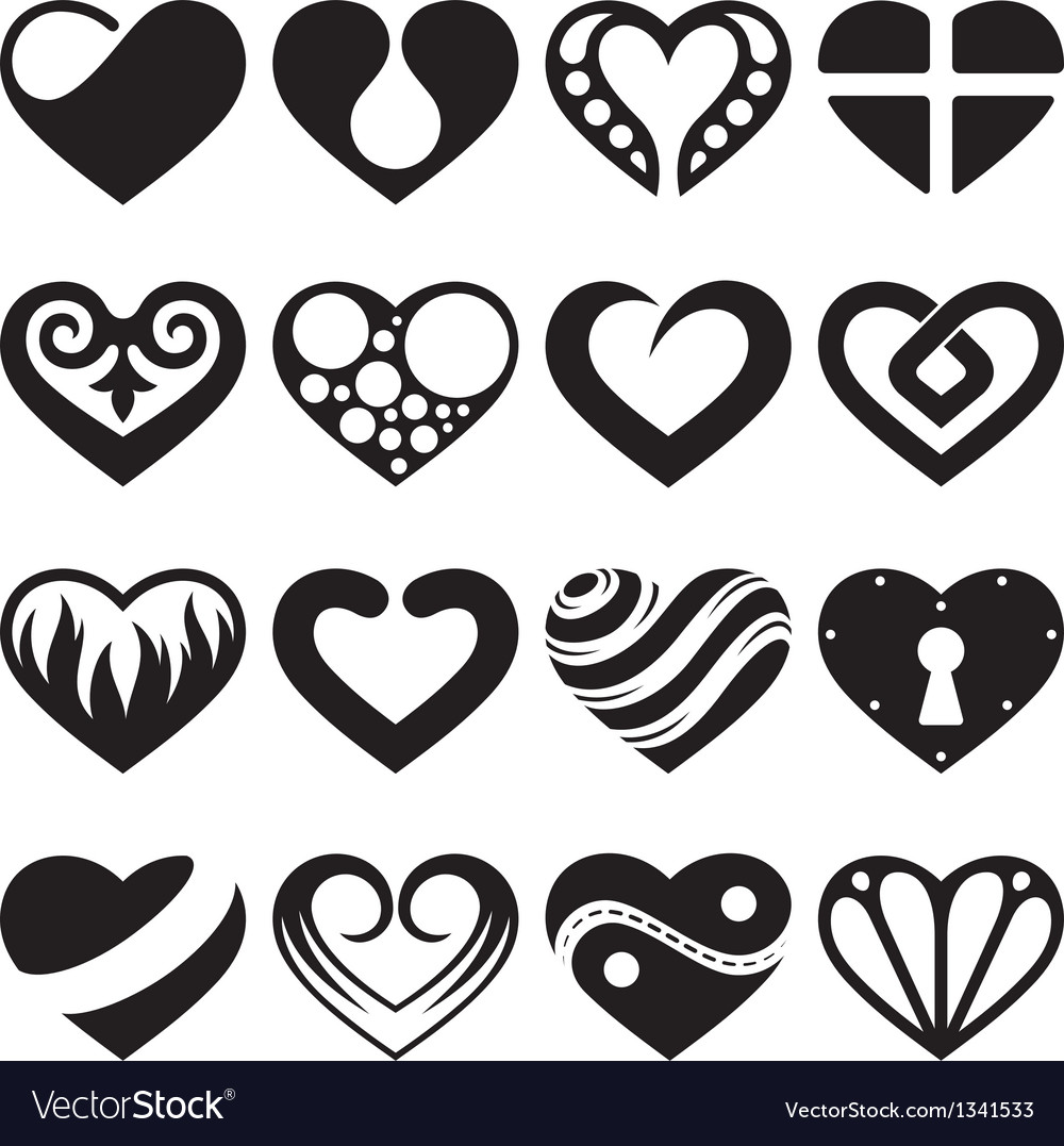 Heart icons and signs set Vector Image
