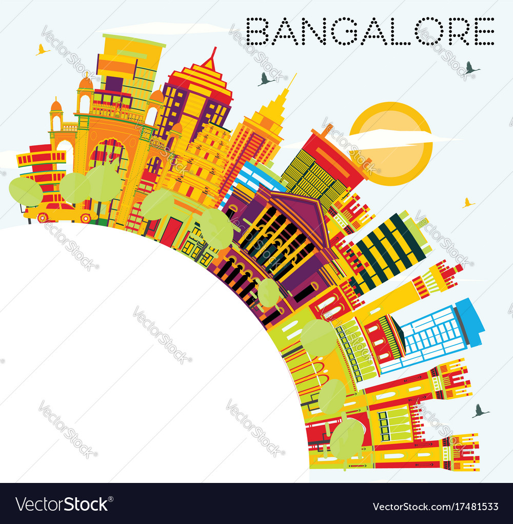 Bangalore skyline with color buildings blue sky vector image