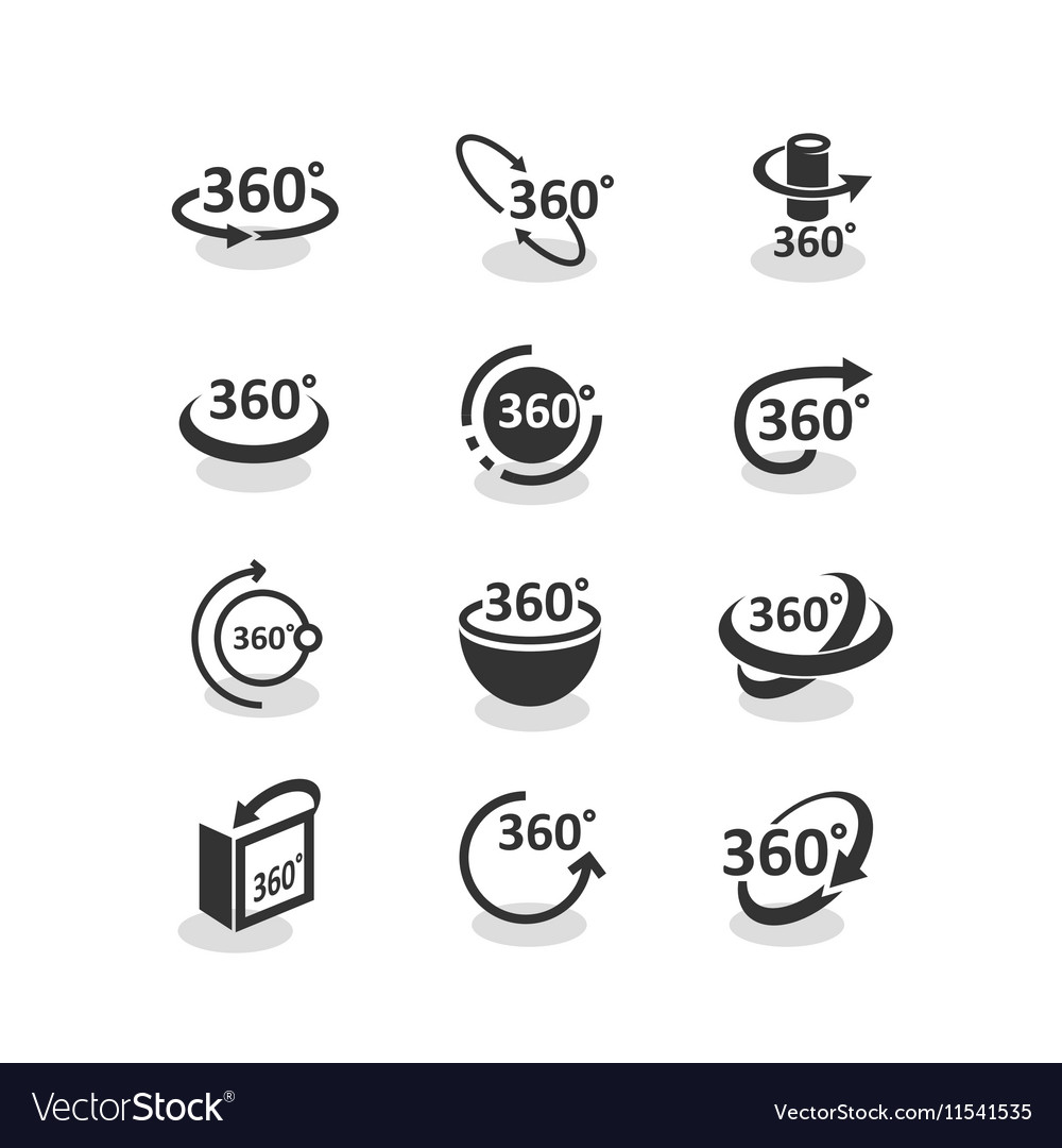360 degree rotation icons set vector image