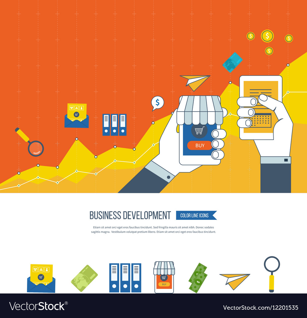 Business development teamwork and strategy vector image