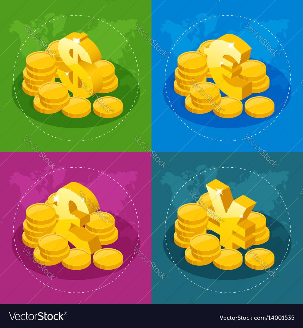 Isometric set of us dollar euro great britain vector image