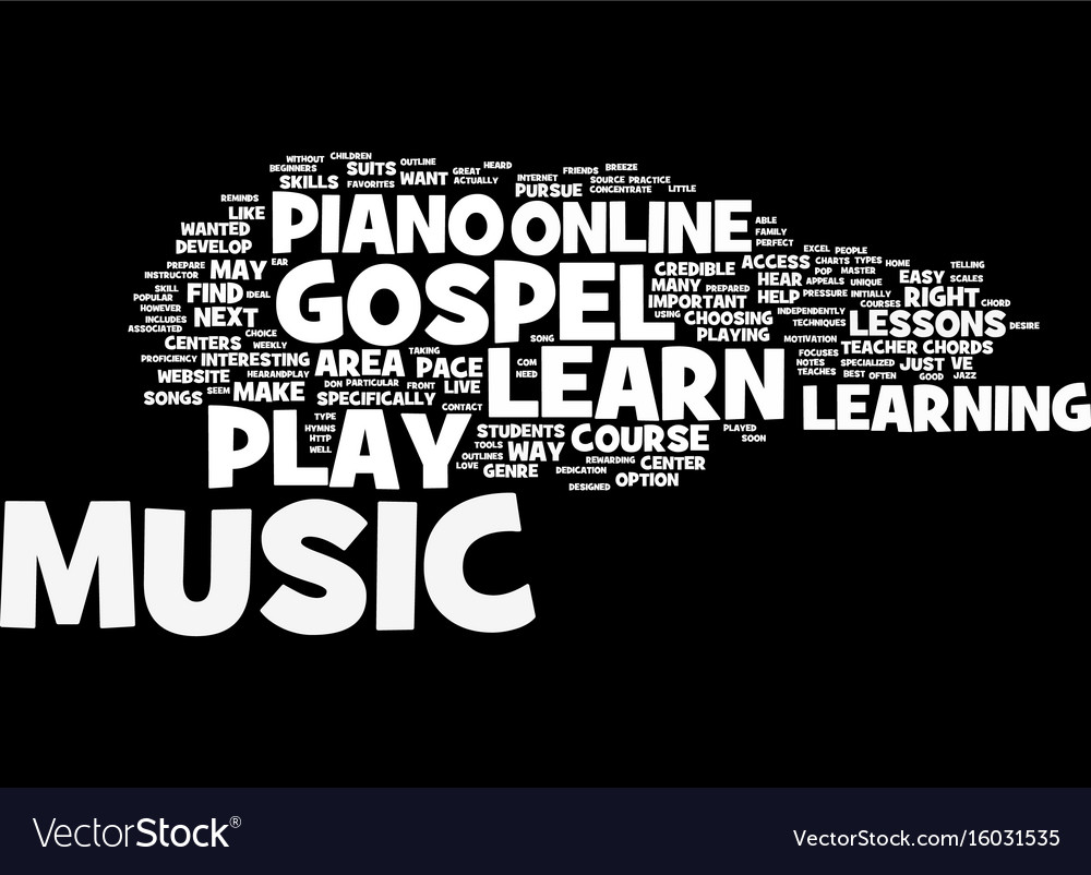 Learn gospel music online text background word vector image
