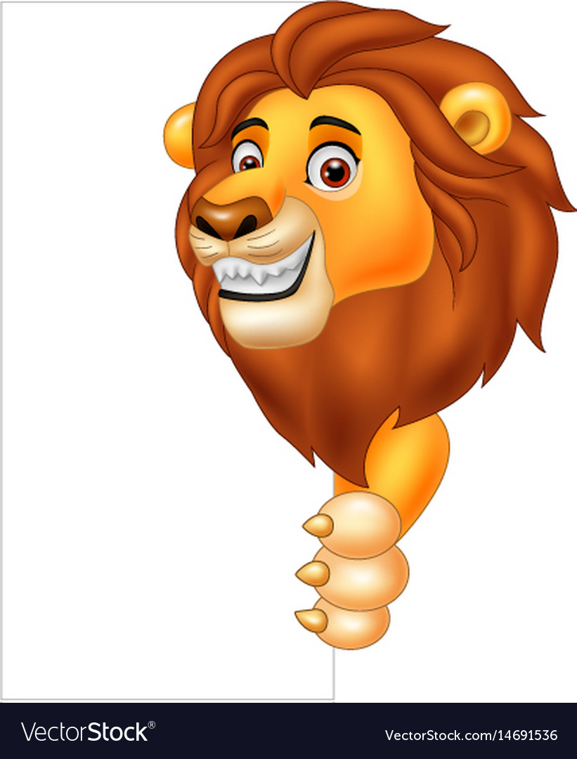 cartoon lion holding blank sign royalty free vector image
