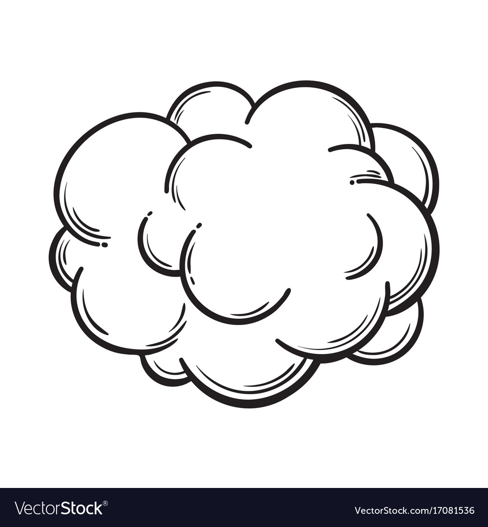 Hand drawn fog smoke cloud isolated comic vector image