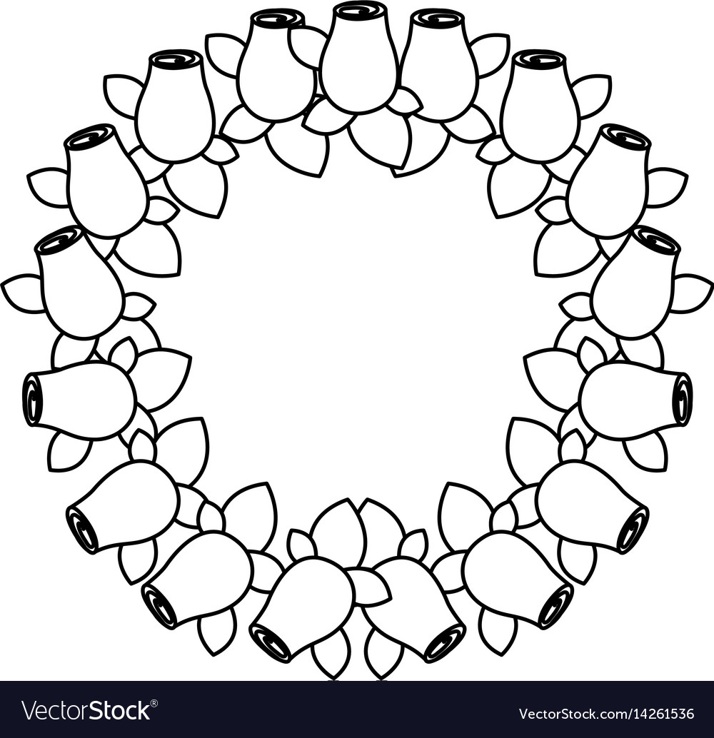 Silhouette crown drawing rosebuds with leaves vector image