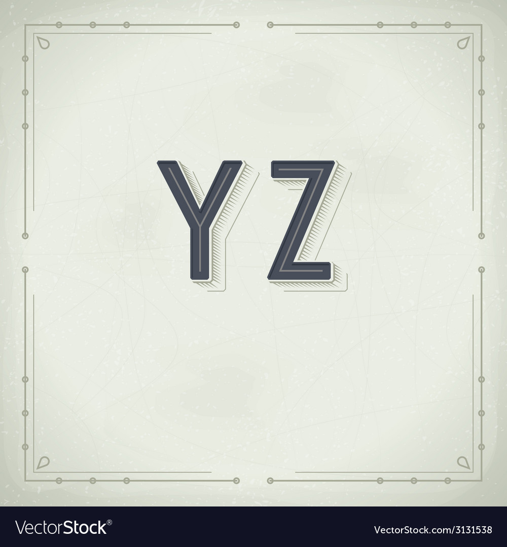 Retro Font from Y to Z Vintage Typography vector image