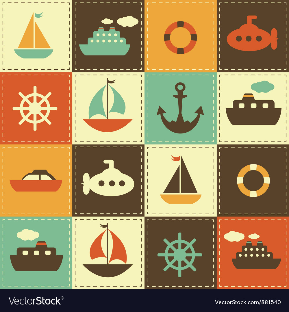 Patchwork background with sea transport Vector Image