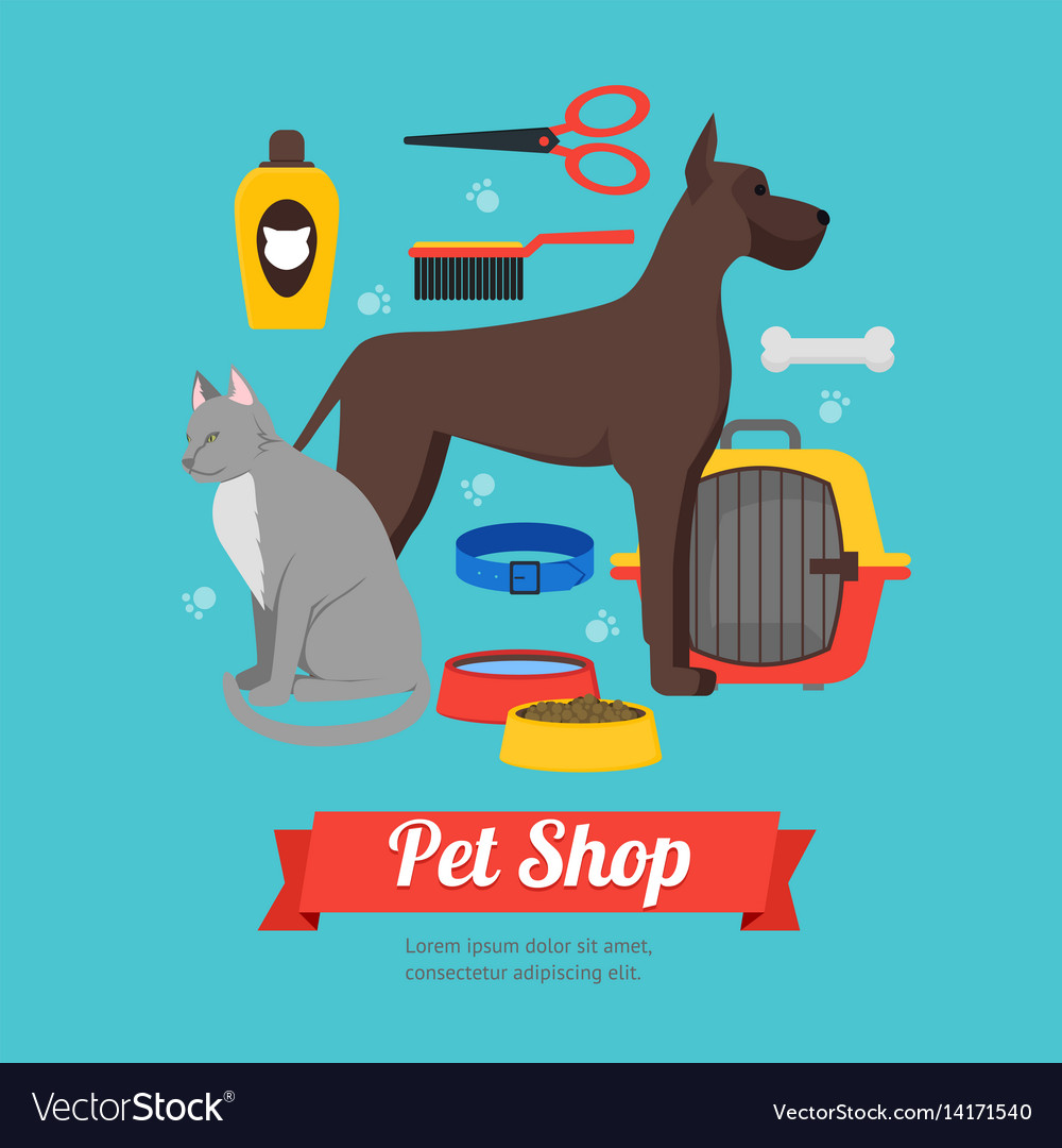 Cartoon domestic pet shop banner vector image