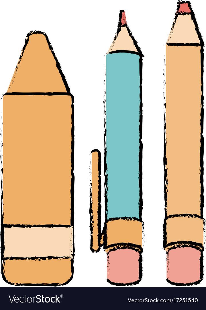pen school with pencil and crayon royalty free vector image rh vectorstock com crayon vector brush crayon vector art free