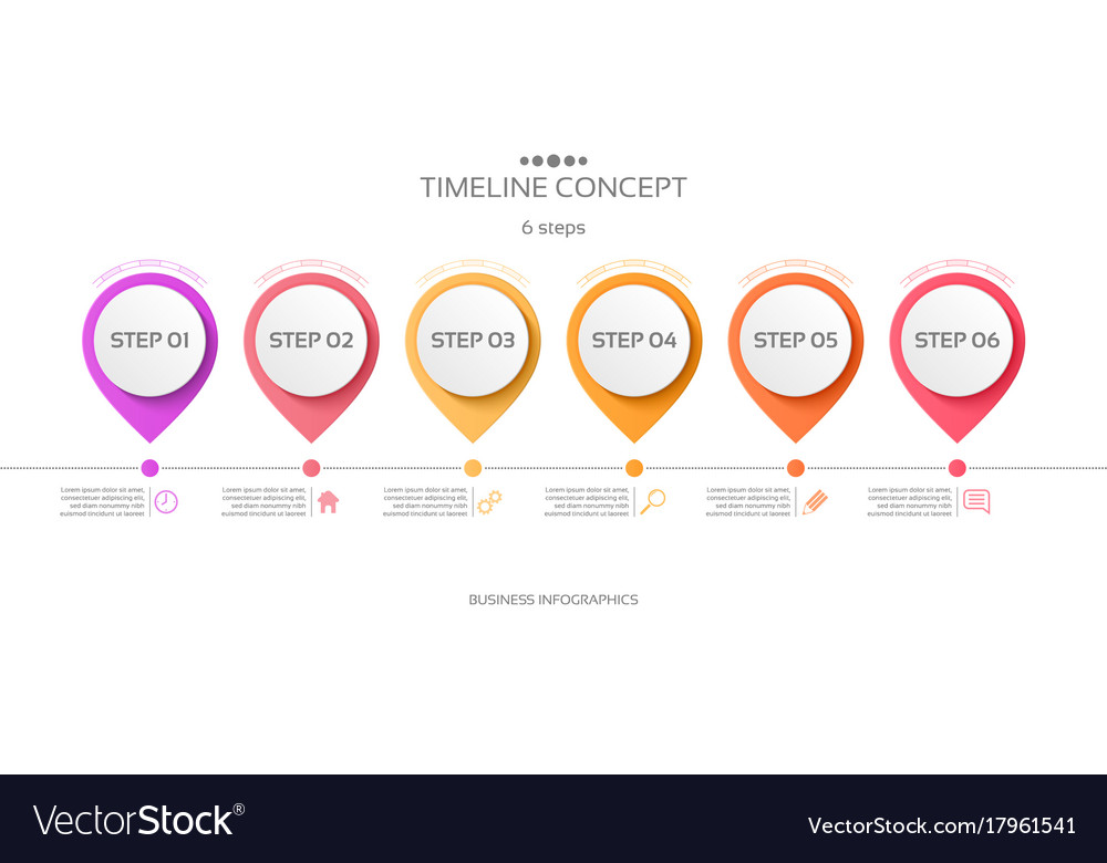 Steps Timeline Infographic Template Royalty Free Vector - Free timeline infographic template