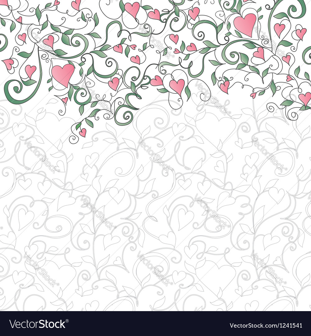 Background with hearts and floral ornament vector image