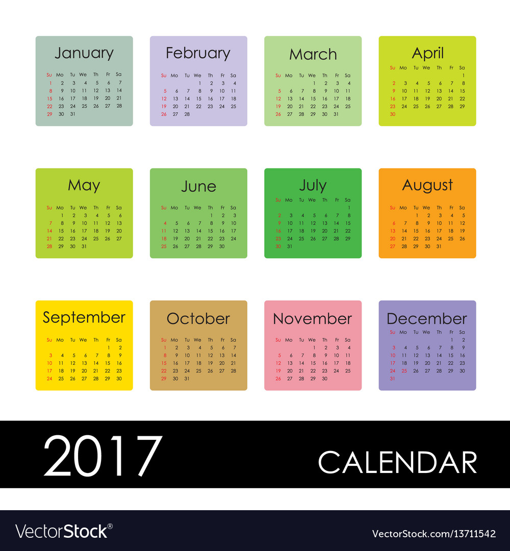 Calendar for 2017 year week starts sunday vector image