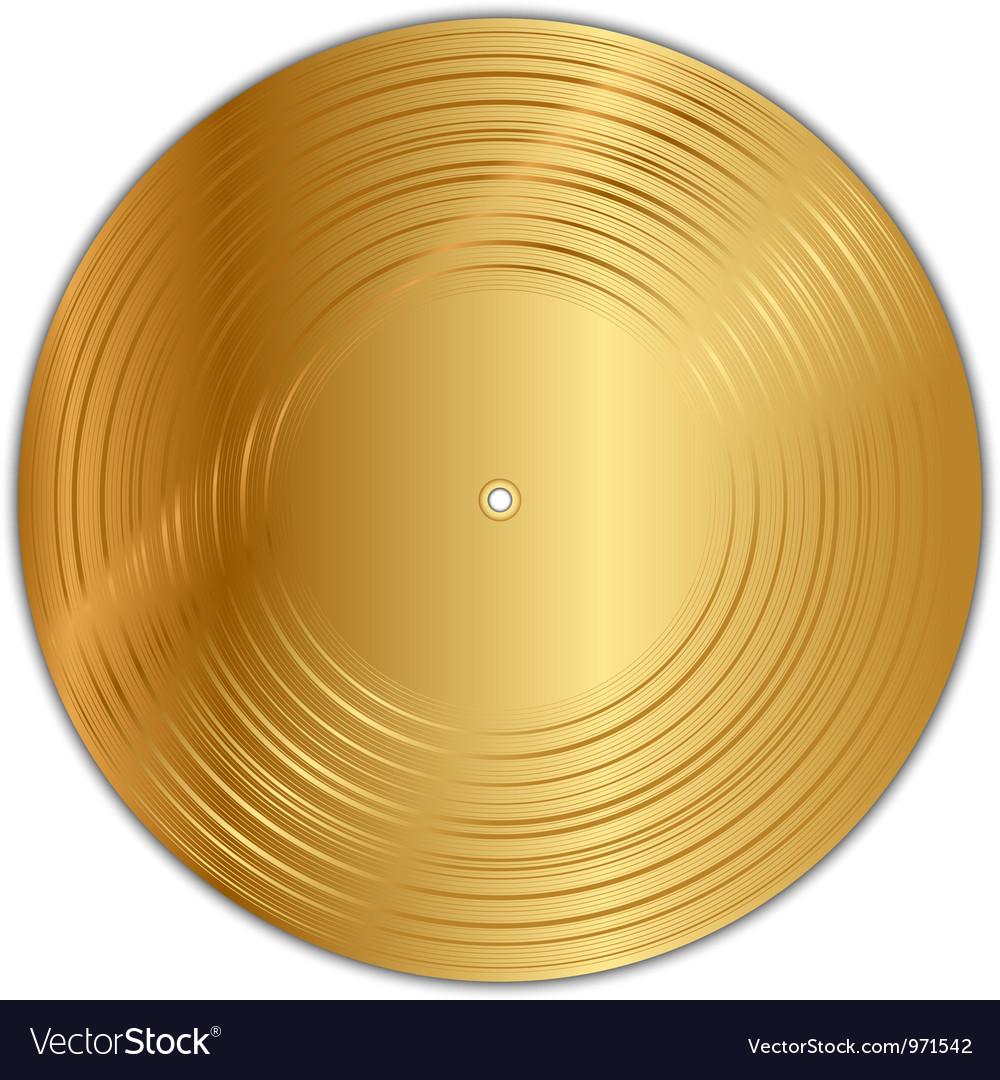 Golden vinyl record vector image