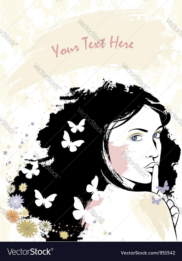 Grunge romantic enigmatic girl vector image