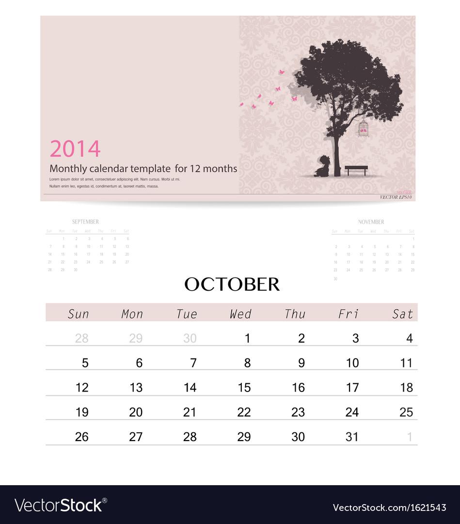 15 month calendar template - 2014 calendar monthly calendar template for vector image