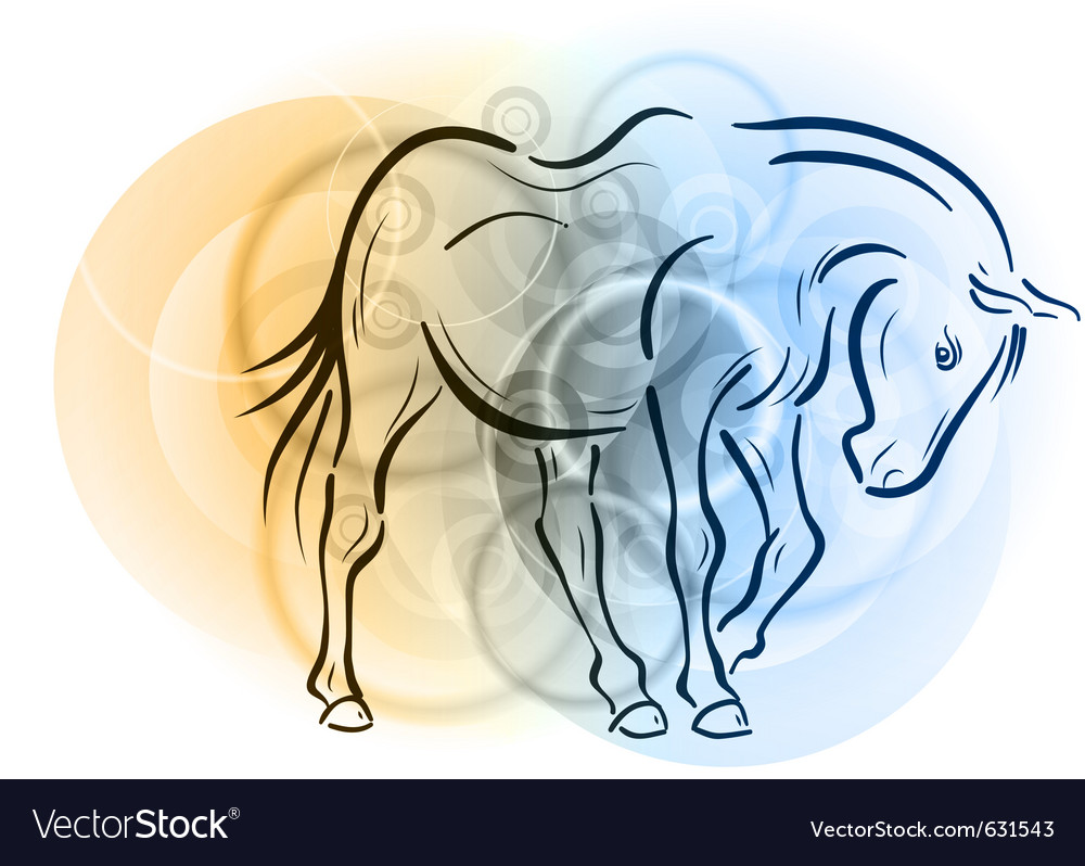 Horse on the abstract background vector image