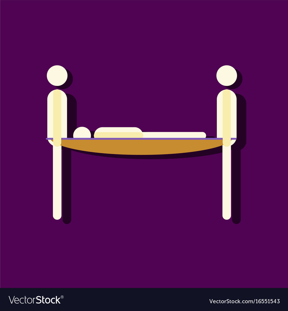 Flat icon design collection man on a stretcher in