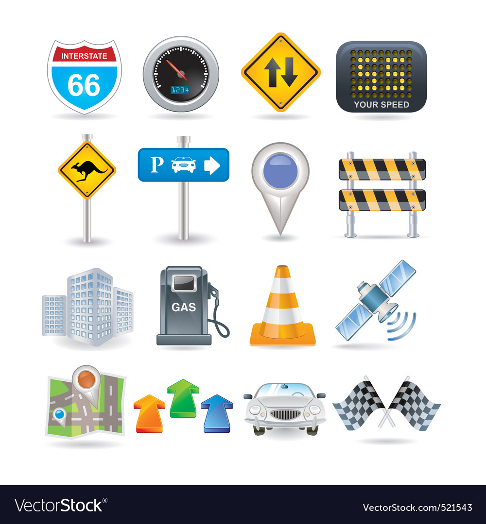 Road and car icon set vector image